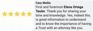 Cary Muniz, testimonial, Elena Ortega Tauler, personal injury attorney, legacy trust counsel, professional lawyers, law, attorneys, Miami Lakes, Doral, Florida.